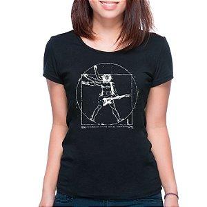 T-Shirt Rockeiro Vitruviano - Feminina - PT+BR
