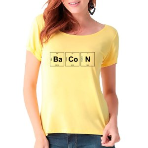 T-Shirt Bacon Periódico - Feminina - AM+ROSA
