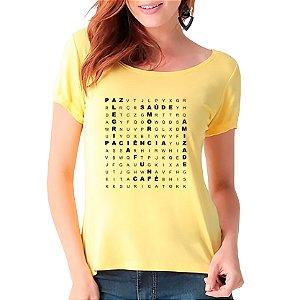 T-Shirt Caça Palavras Boas - Feminina - AM+ROSA