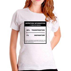 T-Shirt 99% Transpiração 1% Inspiração - Feminina - PT+BR