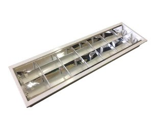 Luminária Comercial 2x9w 625mm tubular T8 - 6 Aletas - P/ Forro Drywall