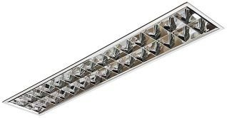 Luminária Comercial 2x18w 1250mm tubular T8 14 Aletas Alumínio