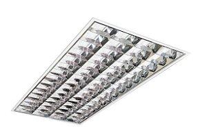 Luminária Comercial 4x18w 1250mm Tubular T8 14 Aletas p/ forro modular