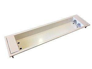 Luminária Comercial de embutir 2x9w 625mm Tubular T8 Branca
