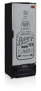 Cervejeira Gelopar GRBA-400GW TI Vertical 410 Litros Porta Cega Inox adesivada Preta 220V
