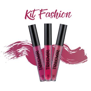 KIT FASHION COM 03 BATONS LÍQUIDO MATTE TRILOVER - CANDY - SENSE - TULLE