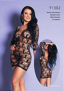 Mini vestido rendado sensual com manga e detalhes por toda a peça- YAFFA Lingerie