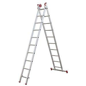 Escada Extensiva de Alumínio 11 Degraus 3,25x5,56