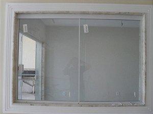 Janela de correr de vidro temperado 2 folhas 1,20  x 1,00 ALT Alumínio em Cor Branca
