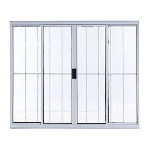 Janela de Alumínio de Correr 100 A X 120L 4 Folhas Branco Com Grade Esal