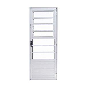 Porta de Alumínio Branco Basculante 2,10A X 0,80L Abertura para Direita