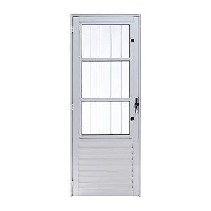 Porta de Alumínio Social Branco 2,10A X 0,70L Abertura para Esquerda