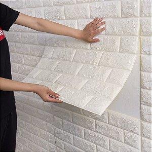 Placa Revestimento de Parede 3D Decorativo Adesivo Branco 770X700X6mm Kit com 10 Placas
