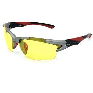 Óculos Solar Prorider  Prata, Preto e Vermelho Com lente Amarela - 26006C5