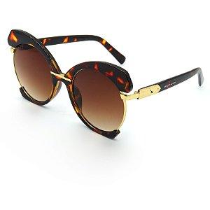 Óculos Solar Prorider Dourado e animal print com lente degrade marrom - s8790