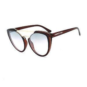 Óculos de Sol Dark Face Marrom e Dourado com Lente Degrade - B88-1354