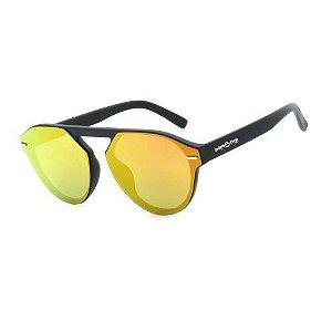 Óculos de Sol Dark Face Preto Fosco com Lente Espelhada - B88-1410