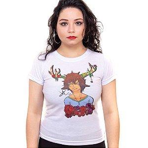 Camiseta branca Bad Rose Personagem Autoral Nanami Nem - HENDRY