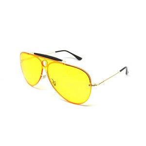 Óculos Dark Face Aviador Dourado Com Lente amarela -3561C3