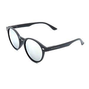 Óculos de Sol Prorider Preto Fosco com Lente Espelhada Prata - 4422