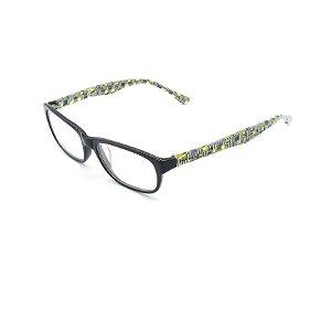 Óculos Receituário Prorider Retrô Preto Com Xadrez Amarelo Com Lente de Apresentação - S3015