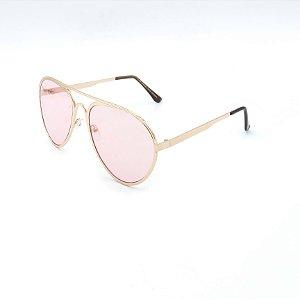 Óculos de Sol Prorider Dourado Brilhante com Lente Rosa - H01591