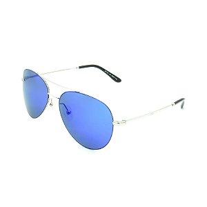 Óculos de Sol Prorider Prateado Brilhante Com Lente Polarizada Espelhada Azul - OP3210C6