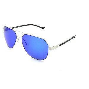 Óculos de Sol Prorider Prateado Brilhante Com Lente Polarizada Espelhada Azul - J64143J21