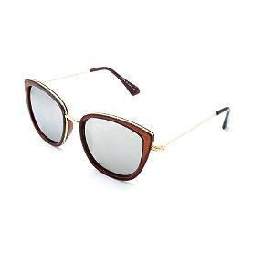 Óculos Solar Prorider Retrô Dourado e Marrom Com Lente Espelhada Prata - LL3024C5
