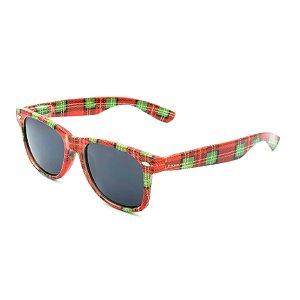 Óculos de Sol Prorider Retrô Vermelho Detalhado Xadrez com Lente Fumê - PS777C1