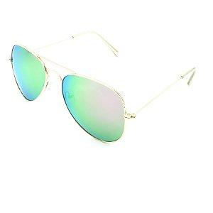 Óculos Solar Prorider Dourado Com Lente Espelhada Azul e Verde - T3025C3