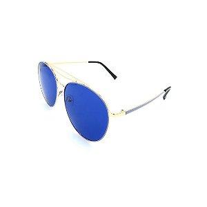 Óculos Solar Prorider Dourado e Azul Com Lente Espelhada Azul - 27439-C4