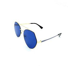Óculos Solar Prorider Dourado e Azul Com Lente Espelhada Azul - 27435-C4