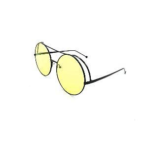 Óculos Solar Prorider Preto Com Lente Espelhada Amarela - J7117-C1