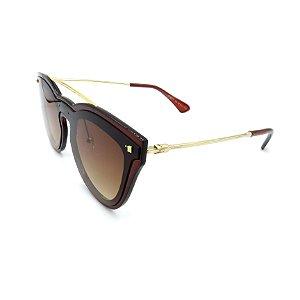 Óculos Solar Prorider Retrô Marrom e Dourado Com Lente Degradê Marrom - FY8077-C2