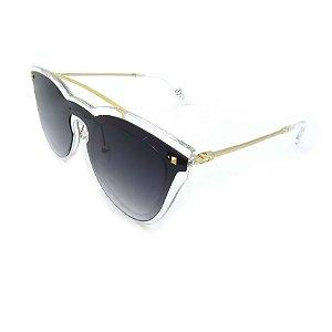 Óculos de Sol Prorider Retrô Dourado e Transparente com lente Degradê Fumê - FY8077-C5