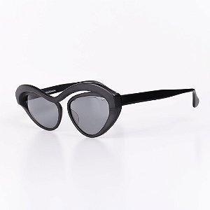 Óculos Solar Robert La Roche Retrô Preto Fosco com Lentes Fumê - MOD100C3