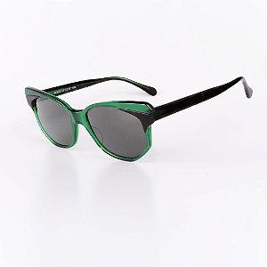 Óculos Solar Robert La Roche Retrô Verde e Preto com Lentes Fumê - CA104C1