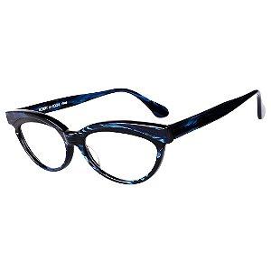 Óculos Receituário Robert La Roche Retrô Preto e Azul Rajado com Lentes de Apresentação - LR258C2