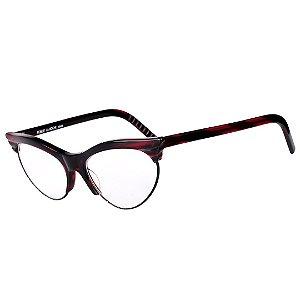 Óculos Receituário Robert La Roche Vintage Preto e Vermelho Rajado com Lentes de Apresentação - CA113C1
