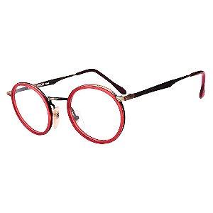 Óculos Receituário Robert La Roche Vintage Preto, Dourado e Vermelho com Lentes de Apresentação - DF23C2