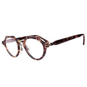 Óculos Receituário Robert La Roche Vintage Marrom e Bege Mesclado com Lentes de Apresentação - CA126C1