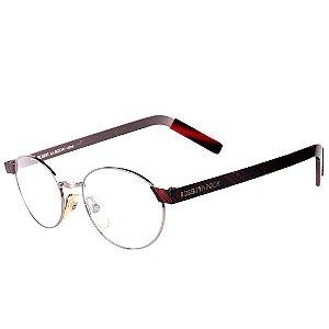 Óculos Robert La Roche Vintage Prata, Preto e Detalhes em Vermelho com Lentes de Apresentação - 105M68C2