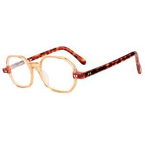 Óculos Receituário Robert La Roche Retrô Bege e Marrom Mesclado com Lentes de Apresentação - CA101C2