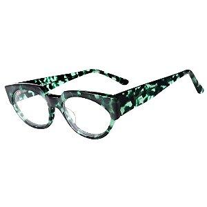 Óculos Receituário Robert La Roche Retrô Preto e Verde Translúcido com Lentes de Apresentação  - CA97C2