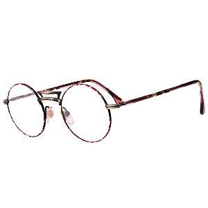Óculos Receituário Robert La Roche Vintage Preto, Dourado e Rosa Mesclado com Lentes de Apresentação - LR336C2