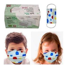 Máscara Descartável Infantil Tripla C Filtro Meltblown 50 Un