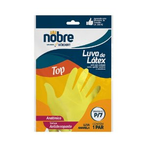 "Luva borracha/latex ""P/7"" amarela TOP CA 39042 - Nobre"