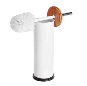Escova Sanitaria de Metal com Suporte Branco e Bambu Wincy