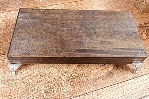 Bandeja madeira rust pe metal 20x10